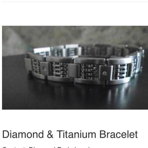 Diamond Titanium Bracelet. Complete with COA